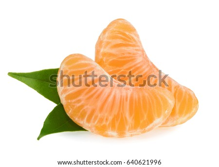 Tangerines slices isolated on white background