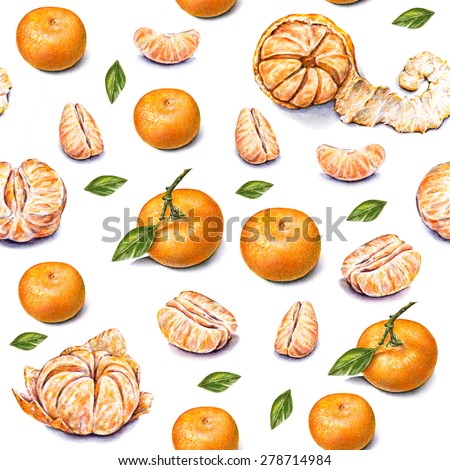 Tangerines. Watercolor drawing. Ripe peeled tangerine. Handwork. Tropical fruit. Healthy food. Seamless pattern for desing. - stock photo