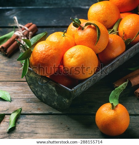 Tangerines with leaves and cinnamon stick on old wooden table. Square image. - stock photo