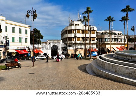 TANGIER, MOROCCO - DECEMBER 15: Busy Square on December 15, 2012 in Tangier, Morocco. The square was named 9 April 1947 Square after the speech of Mohammed V in support of Moroccan independence.