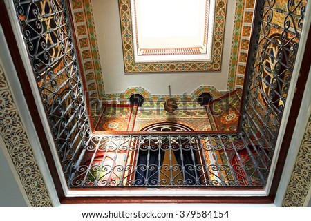 TANGIER, MOROCCO - OCTOBER 12, 2015: Traditional riad interior in Tangier medina, Morocco, Africa