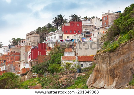 Tangier, Morocco. Old colorful living houses in Medina - stock photo
