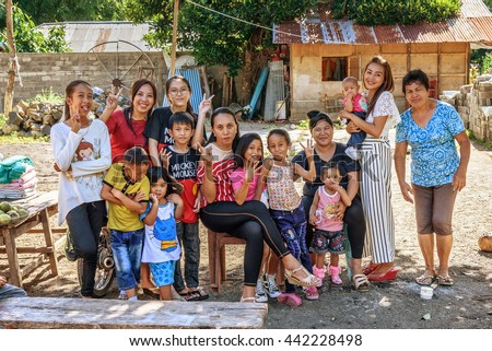 Tangkoko, Indonesia- Dec 25, 2015: Big Indonesian family. Tangkoko National Park. North Sulawesi