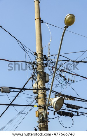 tangle of electrical wires on a light pole in Sao Paulo, Brazil