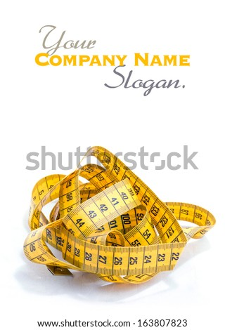 Tangled tape measure against a white background