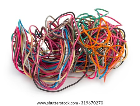Tangled wire isolated on white - stock photo