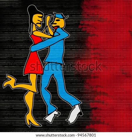 Tango Dance, Cartoon style background - stock photo