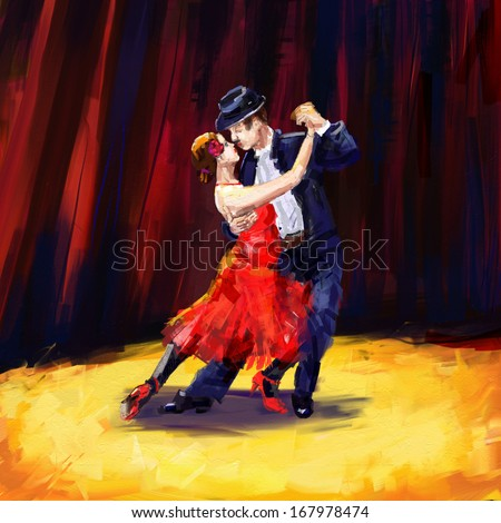 tango dancers digital painting/tango dancers - stock photo