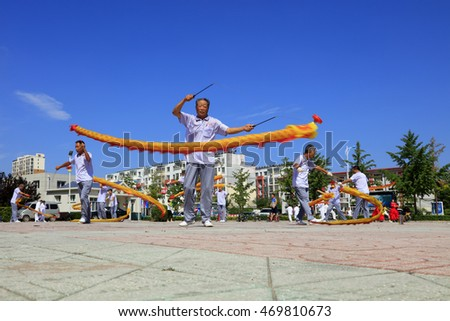 Tangshan - August 8: Diabolo performing in the park, August 8, 2016, tangshan city, hebei province, China