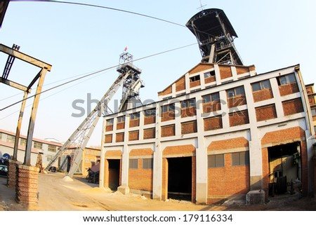 TANGSHAN, CHINA - JANUARY 2: Mine hoist house architectural appearance, in the Kailuan national mine park, on January 2, 2014, tangshan city, hebei province, China.
