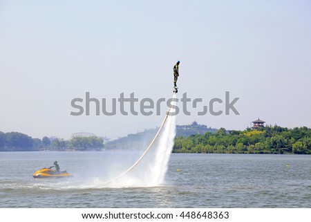 Tangshan - June 19: water jetting special effects performance, on June 19, 2016, tangshan city, hebei province, China