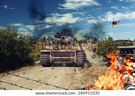 Tank attacked the village and came under attack aircraft - stock photo