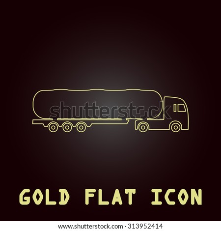 Tank car. Trailer Outline gold flat pictogram on dark background with simple text. Illustration trend icon