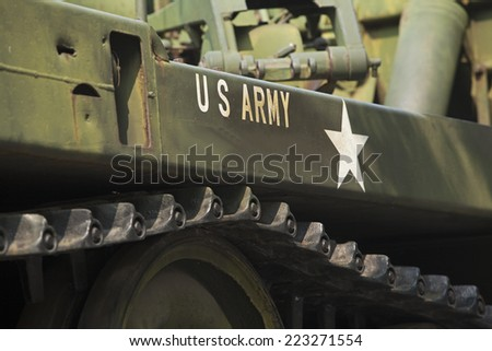 Tank close-up with text US Army on it.  - stock photo