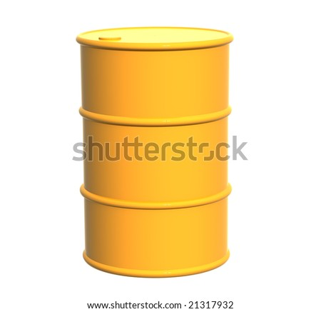 Tank of yellow color. Object over white