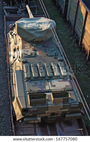 Tank On Train, top view. Closeup. - stock photo