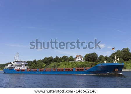 Tank ship on Kiel Canal, Germany - stock photo