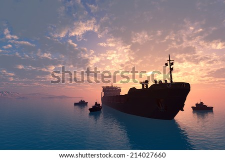 Tanker and tugs at sea. - stock photo