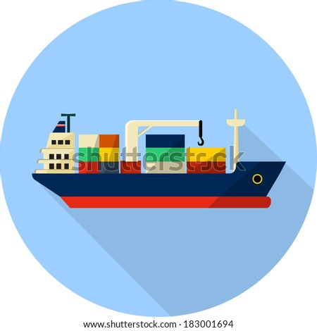 tanker cargo ship with containers - stock photo