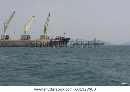 Tanker floats in the middle of the ocean.