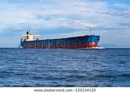 Tanker in the ocean - stock photo