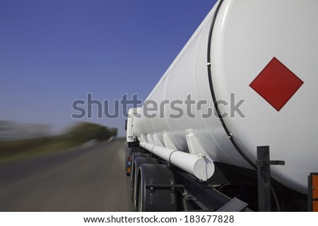 Tanker lorry or truck on a motorway - stock photo