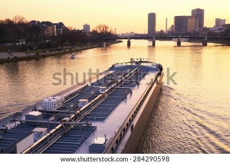 Tanker of the river Main in Frankfurt, Germany - stock photo