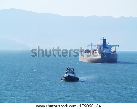 tanker ship on anchor - stock photo