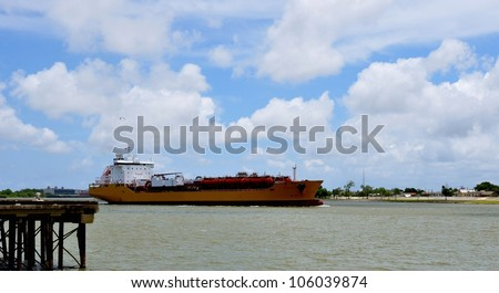 Tanker Ship On The Mississippi River - stock photo