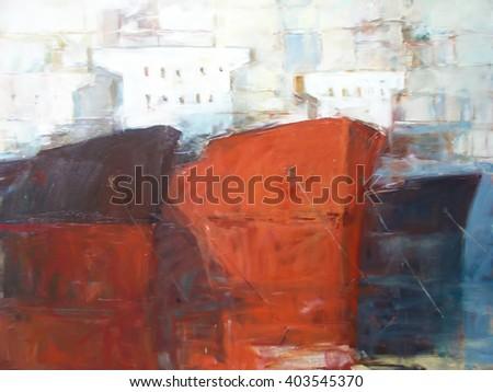 Tanker ships, modern handmade paintings - stock photo