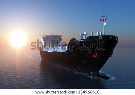 Tanker truck moves in the sea. - stock photo
