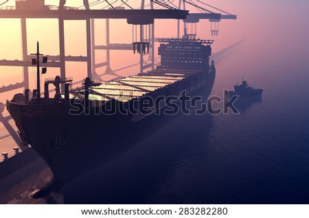 Tanker trucks at the port. - stock photo