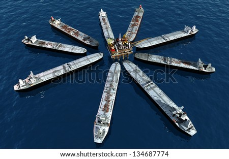 Tankers near the station for oil. - stock photo