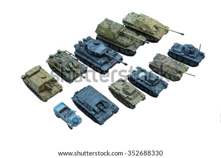 tanks group on white isolated