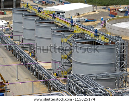 Tanks in an industrial plant - stock photo
