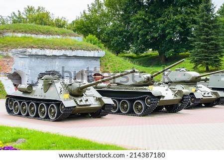 Tanks of the Brest Fortress, Brest, Belarus. Soviet World War II war monument commemorating the Soviet resistance against the German invasion on June 22, 1941 - stock photo