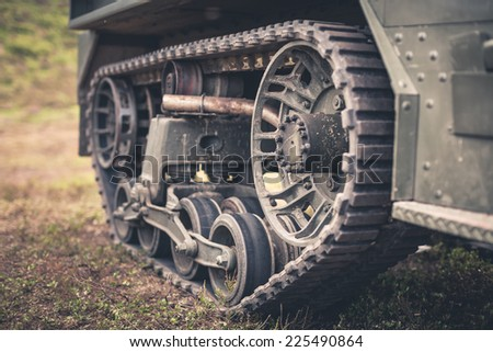 Tanks transmission device closeup photo with dirt - stock photo