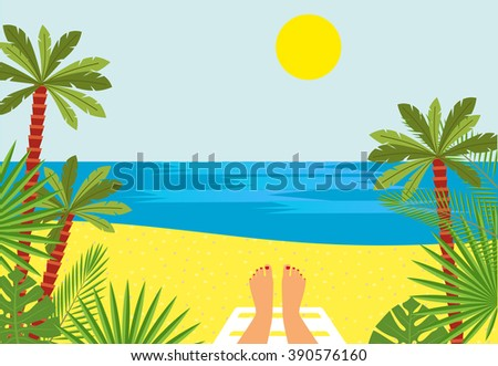 Tanned Feet and the sea. female legs against the sea, beach with palm trees - stock photo