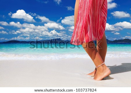Tanned woman on the tropical beach, Andaman Sea, Thailand - stock photo