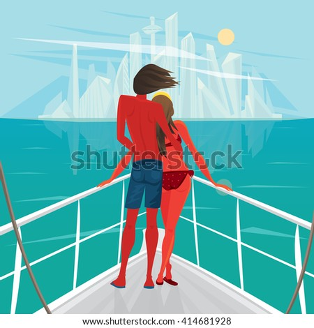 Tanned young couple standing on the deck of the ship and looks at the big modern city - End of holiday or Way home concept. Raster version of illustration - stock photo