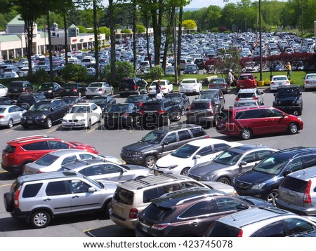TANNERSVILLE, PA - MAY 25: The Crossings Premium Outlets in Tannersville, Pennsylvania, as seen on May 25, 2014. It is a major tourist attraction in the area. - stock photo