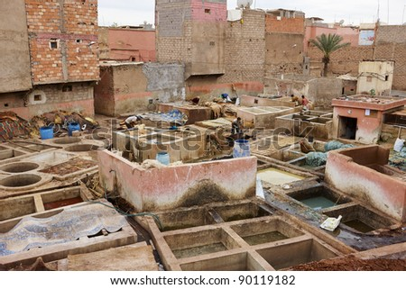 Tannery in Marrakesh, Morocco, Africa in the old Medina