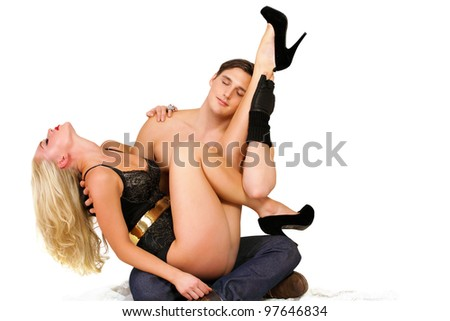 Tantra sex couple meditating in togetherness - stock photo