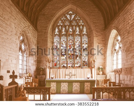 TANWORTH IN ARDEN, UK - SEPTEMBER 25, 2015: Parish Church of St Mary Magdalene interior view vintage