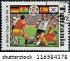 TANZANIA - CIRCA 1994: A stamp printed in Tanzania dedicated to FIFA World Cup, USA, 1994 shows footbal players, circa 1994 - stock photo