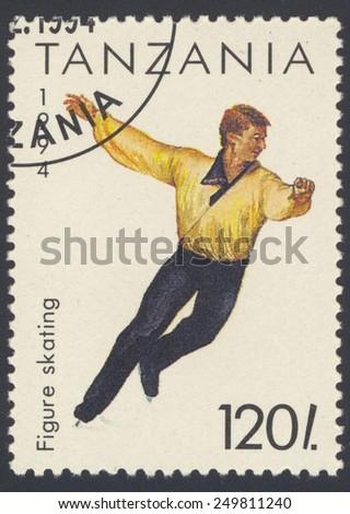 TANZANIA - CIRCA 1994: A stamp printed in TANZANIA dedicated to world figure skating championships, circa 1994 - stock photo