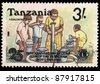 TANZANIA - CIRCA 1987: A stamp printed in Tanzania shows A shallow water well, 25th anniversary of lions club of dar es salaam (host) 1963 -1987, circa 1987 - stock photo