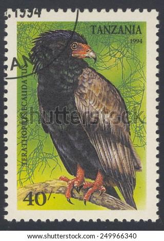 TANZANIA - CIRCA 1994: A stamp printed in Tanzania shows The bateleur (Terathopius ecaudatus), circa 1994. - stock photo