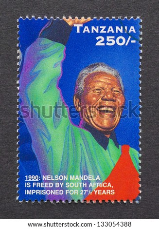 TANZANIA - CIRCA 2006: postage stamp printed in Tanzania showing an image of Nobel Peace prize winner Nelson Mandela, circa  2006. - stock photo