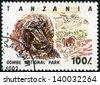 TANZANIA - CIRCA 1993: Stamp printed in Tanzania dedicated to Gombe National Park, shows baboon, circa 1993 - stock photo
